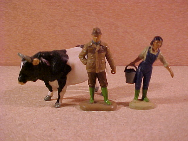 Painted plastic farm figures, Bull, Farmer and Farm Hand