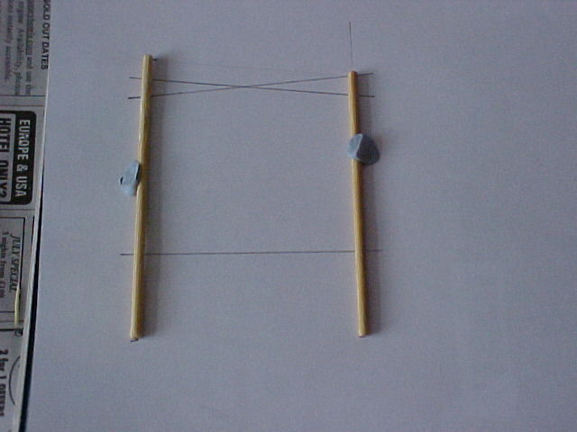 Skewers held on template with Blu-Tack
